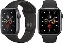 купить Apple Watch Series 5 44mm Case Space Grey Aluminium Sport Band Black в Барнауле и Горно-Алтайске