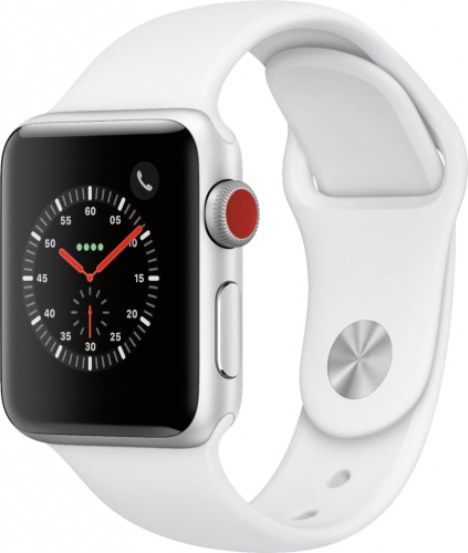 купить Apple Watch Series 3 38mm Case Silver Aluminium Sport Band White в Барнауле и Горно-Алтайске фото 2